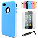 iPhone 4 4S Sky Blue And White Hybrid Case TPU Combo Cover + 2x Screen Protectors (Front & Back) + Universal Touch Screen Stylus Pen