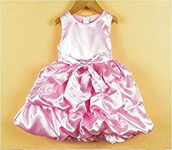 TheTickleToe Baby Infants Girls Satin Party Birthday Gown Dress Pink 3-4 Years