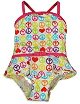 Pink Platinum - Baby Girls One Piece Peace Swim Suit, White, Multi 23813-24Months