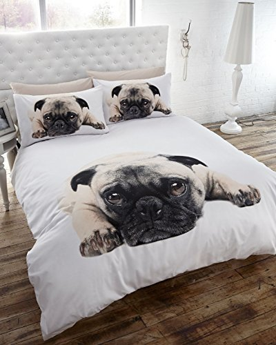 Double Duvet Cover & p/case Bedding Bed Set White Pug Dog Cute Animal by BEDMAKER duvet cover brushed twill from dianoche designs home decor and bedding ideas by carrie schmitt good morning sunshine