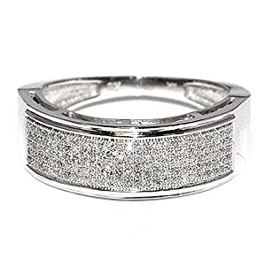 14K White Gold Wedding Ring for Men 0.33ct Pave St 7.6mm Wide Rounded Wide band