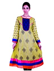 ESTYLe Willow Shade Printed Anarkali Kurta With Contrast Yoke