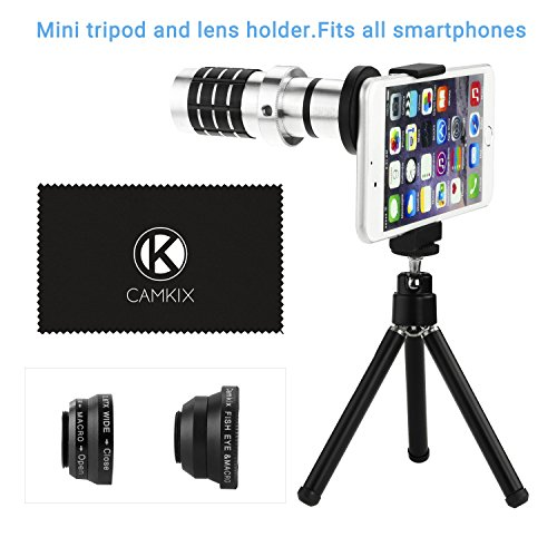 Eco-Fused-Universal-Smart-Phone-Camera-Lens-Kit-including-12x-Telephoto-Manual-Focus-Lens-Fish-Eye-Lens-2-in-1-Macro-and-Wide-Angle-Lens-Tripod-Lens-and-Phone-Holder-Fits-Most-Phones