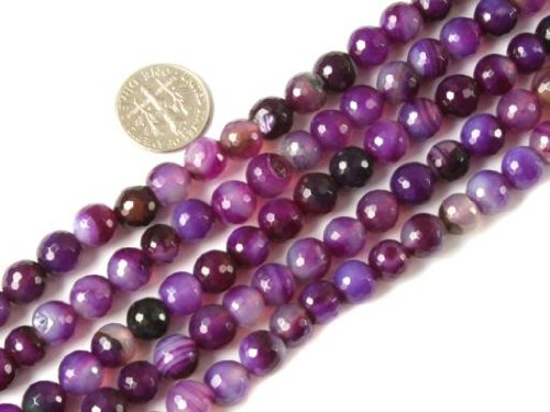 Sweet & Happy Girl'S Store 8Mm Round Faceted Gemstone Banded Purple Agate Beads Strands 15