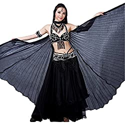 Dance Fairy Black Silk Belly Dance Isis Wings special Halloween costumes