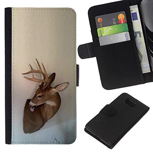 Antlers Beige Natura Primavera animale - Portafoglio in pelle della Carta di Credito fessure PU Holster Cover in pelle case Per Samsung ALPHA G850