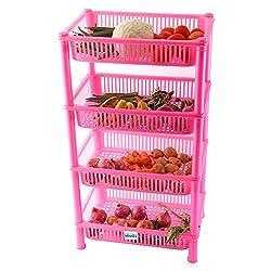 NOVICZ 4 Layer Kitchen Rack Stand Fruits Vegetable Rack Storage Household Office Rack Storage Stand - Pink
