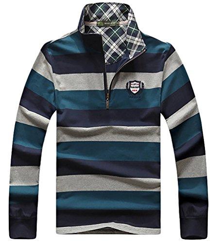 Baymate Uomo Polo Shirt A Manica Lunga Striscia Colori Vari Zaffiro XL