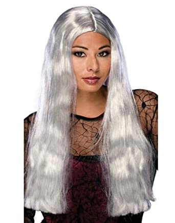 Amazon Com Long Grey Witch Costume Wig Long Zombie Wig