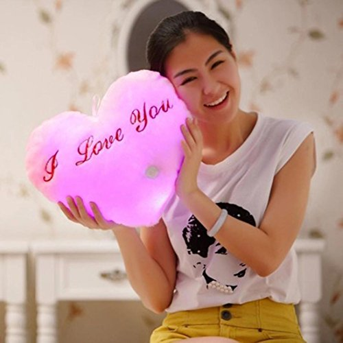 Binmer(TM)Heart Shaped I Love You Glowing LED Pillow 7 Color Changing Light Up Soft Cushion Girls Toy Throw Pillow Gift (Pink)
