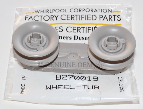 PART # 8270019 GENUINE FACTORY OEM DISHWASHER UPPER RACK ROLLER KIT FOR WHIRLPOOL, KITCHENAID, KENMORE AND SEARS