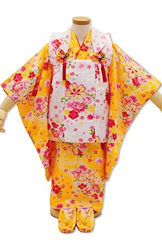 七五三 着物 3歳 女の子用被布6点セット H02 黄色 白 洋花 被布コート 着物 襦袢  巾着 草履 髪飾り
