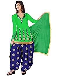 White World Women's Cotton Patialas Salwar Suit Set (Green_123_Green_Free Size)