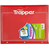 Mead Trapper Pocket Folder, Plastic, 2 Pockets, 8.5 x 11 Inches, Red (33220)