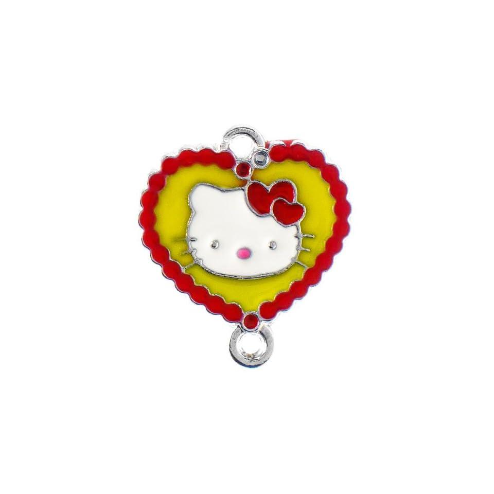 12X DIY Jewelry Making Heart bordered Hello Kitty enamel charm   Red/Yellow