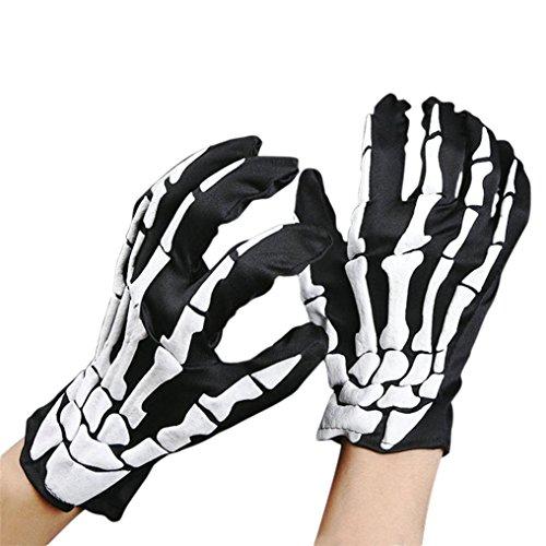 Gotd Halloween Props Decorations Decor Halloween Skull Bone Silicon Rubber Skeleton Goth Racing Full Finger Gloves Halloween Skull Bone Silicon Rubber Skeleton Goth Racing Full Finger Gloves (Black)