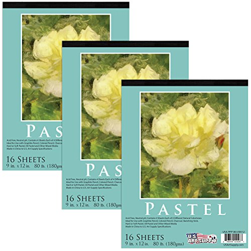 "U.S. Art Supply 9"" x 12"" Premium Pastel Paper Pad, 80 Pound (180gsm), Assorted Natural Tone Colors, Pad of 16-Sheets (3-Pack)"