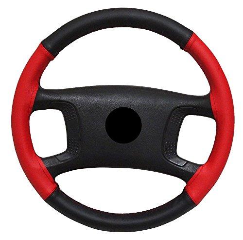 AERZETIX-Couvre-volant--coudre-en-cuir-vritable-Couleur-noir-et-rouge-Taille-M