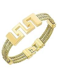 YoFashion Italian Designer 18K Gold Plated Surgical Stainless Steel Bracelet Kada For Men