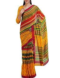 Unnati Silks Women Yellow-Multicolor Georgette Saree