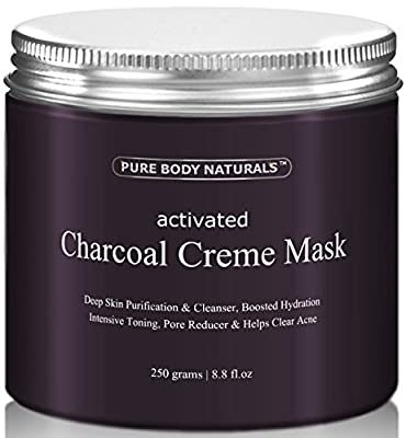Face Mask - Activated Charcoal Creme Facial Mask, Charcoal Mask Facial Treatment Fights Acne and Deep Cleans Pores, Mud Mask, 8.8 fl. oz. by Pure Body Naturals