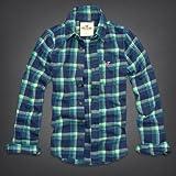 Hollister Co. ホリスター メンズ フランネルシャツ 長袖シャツ ネルシャツ [グリーンxブルー/チェック] 並行輸入品 XLサイズ