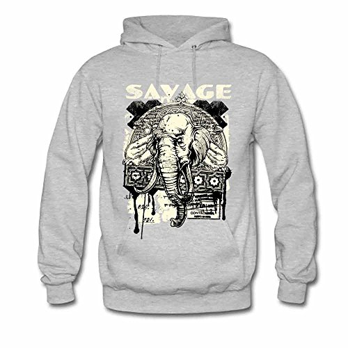 Women's Savage Tribal Elephant Pattern Vintage Hooded Sweatshirt Cotton Hoodies S