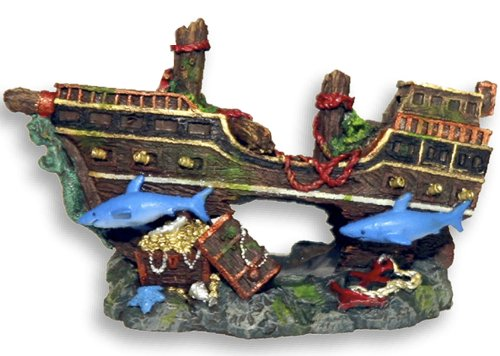 Exotic Environments Pirate Shipwreck with Sharks Bubbler Aquarium Ornament, 5-1/2-Inch by 2-3/4-Inch by 3-1/4-Inch