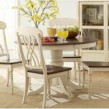Homelegance Ohana 3 Piece Round Dining Room Set In White/ Cherry