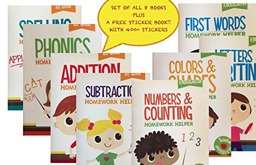 Kindergarten-1st-Grade-8-Book-Set-Educational-Activity-Workbooks-Worksheets-Prep-2nd-Graders-Home-School-Learning-Alphabet-Math-Spelling-Addition-Subtraction-age-2-3-4-year-olds-PLUS-A-FREE-GIFT