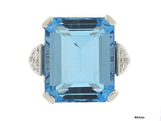 12*15MM Emerald Cut Aquamarine Round Brilliant Cut White Simulated Diamond 925 Sterling Silver Engagement Wedding Bridal Anniversary Ring,All Size available