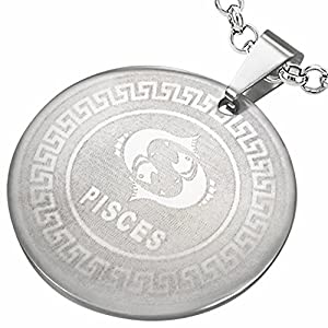 Stainless Steel Greek Key Pisces Zodiac Sign Circle Pendant