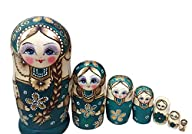 Leegoal New 7pcs Wooden Russian Nesting Dolls Braid Girl Dolls Traditional Matryoshka Wishing Dolls…
