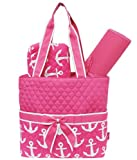 Hotpink & White Anchors Print 3pc. Baby NEW Born Diaper Bag