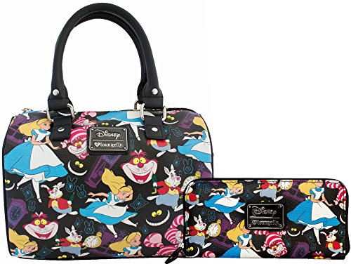 Loungefly Disney Alice in Wonderland Print Duffle & Matching Wallet Bundle