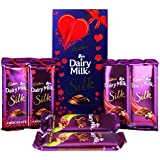 Cadbury Dairy Milk Silk Fruit & Nut, Roasted Almond, Plain Silk & Special Valentine Pack Combo Chocolate, 590g
