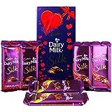 Cadbury Dairy Milk Silk Fruit & Nut, Roasted Almond, Plain Silk & Special Valentine Pack Combo Chocolate, 590g