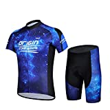 Baleaf Outdoor Men Short Sleeve Suit with 3D Cushion Padded Shorts Breathable Cycling Jersey And Shorts Set Blue Sky Style Size M