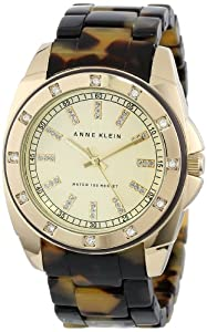 Anne Klein Women's 10/9988CHTO Swarovski Crystal Accented Gold-Tone Tortoise Resin Bracelet Watch