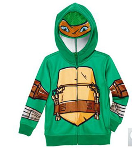 Nickelodeon Boys 2-7 Teenage Mutant Ninja Turtles Zip-Up Hoodie w/ Mesh Half Mask (7, Green)