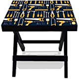 Nutcase Designer Foldable Wooden Side Table - Portable Multipurpose Solid Wood Compact Quick Folding Indoor/Outdoor Table/ Bedside Table - TOOL BOX
