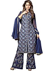 Ewows Women's Georgette Dress Material(SAYNA1006_Dark Blue_Free Size)