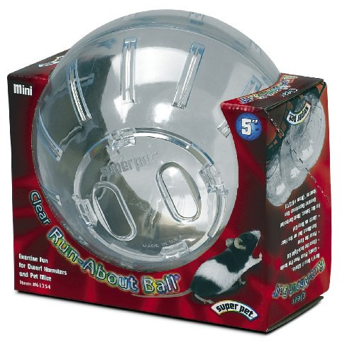 Super Pet Dwarf Hamster Mini Run-About 5-Inch Exercise Ball, Clear