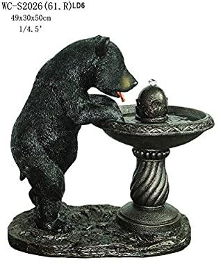 "Garden Outdoor Indoor Black Bear Statue Sculpture Water Fountain with LED Light 20""H"