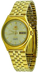 Orient #FEM5M00VC Men's 3 Star Gold Tone Stainless Steel Champagne Dial Automatic Watch