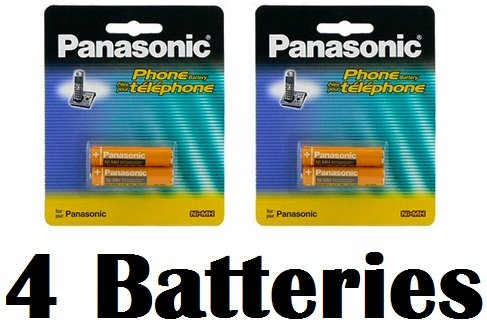 Panasonic Original Ni-MH Rechargeable Batteries (2 Packs of 2) for the Panasonic KX-TGA850EB - KX-TG8524ES & KX-TG8524EW Digital Cordless Phone Set Answer Machine image
