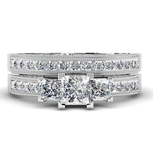 1.75 Carat (ctw) 14k White Gold Princess and Round Diamond Ladies Bridal 3 Stone Ring Engagement Mat..