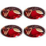 Liili Round Coasters 4 Pieces per order Coffee in a red cup with cinnamon and anise stars Image ID 23463555