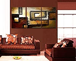 Ode-Rin Hand Painted Oil Paintingss Vintage Rampart 3 Panels Wood Framed Inside For Living Room Art Work Home Decoration Abstract