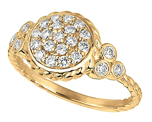 0.59 carat Round brilliant diamond engagement round ring solid gold 14K size C
